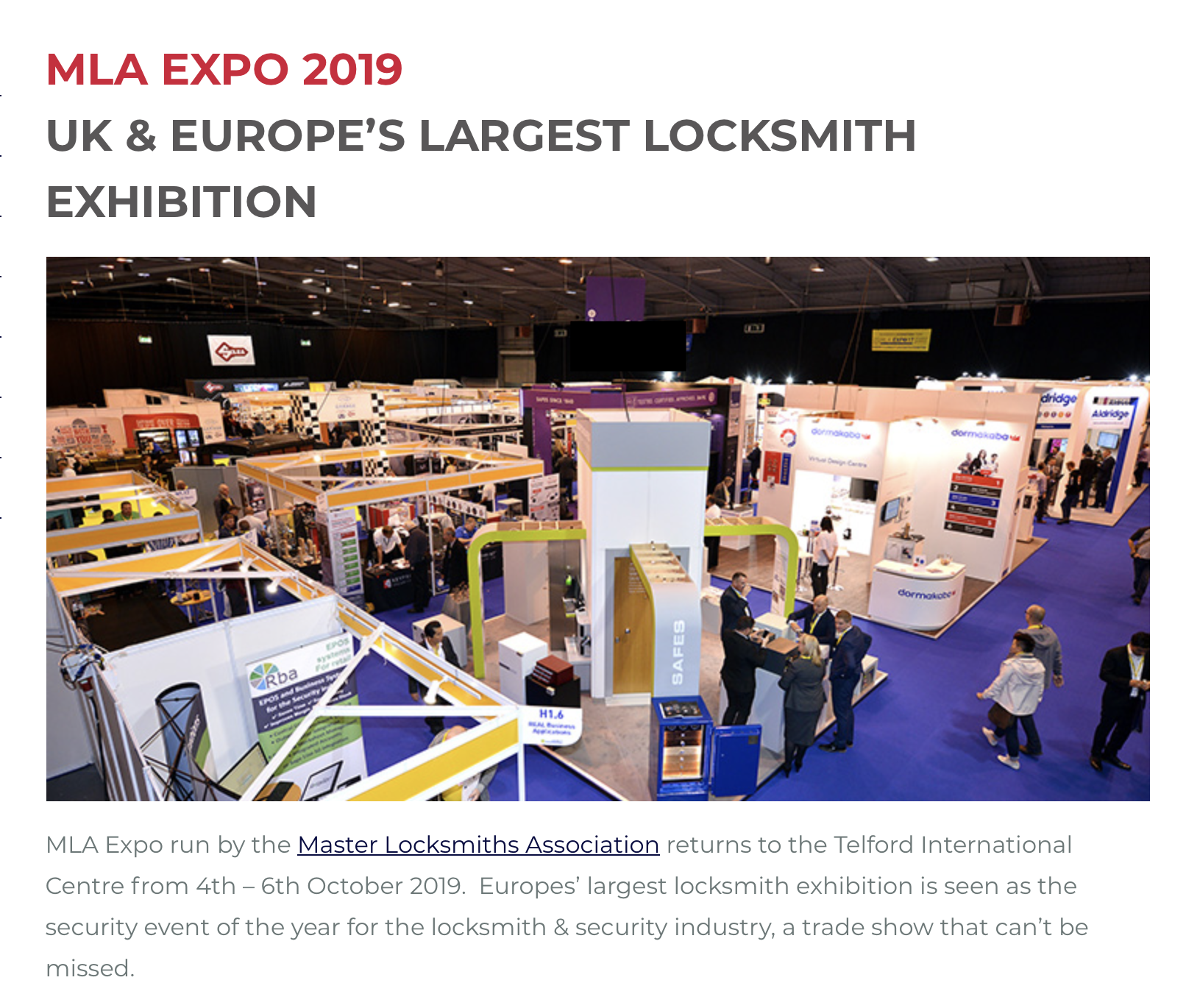 Securikey exhibiting at the MLA Expo this October - Securikey